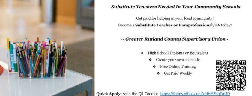 GRCSU is seeking Substitute Teachers & Paraprofessionals